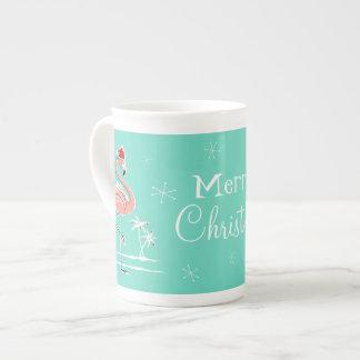 Christmas Flamingo Merry Christmas bone china mug