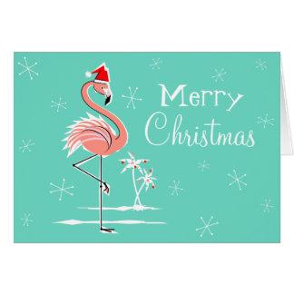 Christmas Flamingo Merry Christmas horizontal Card