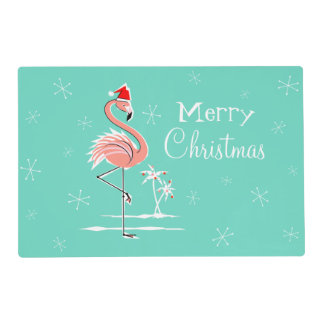 Christmas Flamingo Merry Christmas laminated Placemat