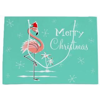Christmas Flamingo Merry Christmas large gift bag
