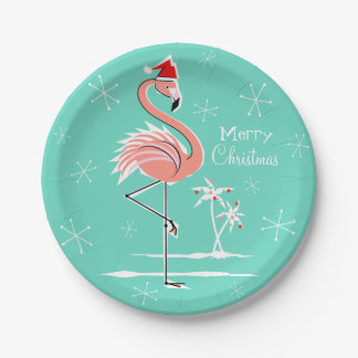 Christmas Flamingo Merry Christmas paper plate