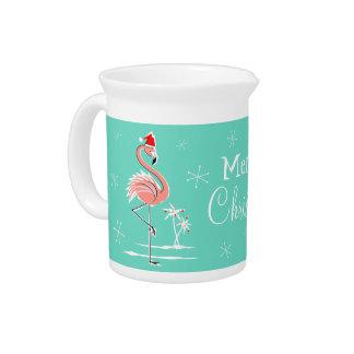 Christmas Flamingo Merry Christmas pitcher