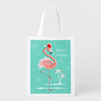 Christmas Flamingo Merry Christmas reusable bag