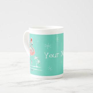 Christmas Flamingo Merry Name bone china mug
