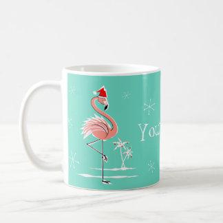 Christmas Flamingo Name mug
