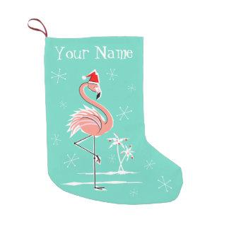 Christmas Flamingo Name stocking two sided