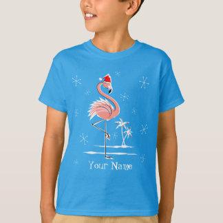 Christmas Flamingo Name t-shirt kids