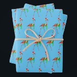 """Christmas Flamingo on the Beach Wrapping Paper Sheets<br><div class=""""desc"""">Wishing you warmest Holiday wishes!   Avanti,  the Global Humor Brand™ has been entertaining the world with its Feel Good Funny greeting cards for over 40 years. Our characters live life to the fullest and celebrate the humor in everyday life.</div>"""