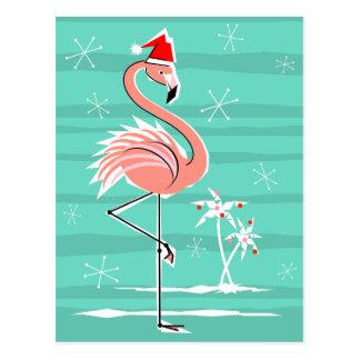 Christmas Flamingo Stripe aqua back postcard