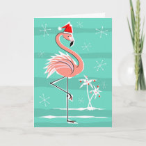 Christmas Flamingo Stripe Happy Holidays Holiday Card
