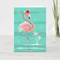 Christmas Flamingo Stripe Happy Holidays Holiday Card