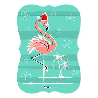 Christmas Flamingo Stripe invitation vertical