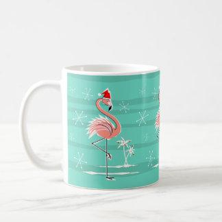 Christmas Flamingo Stripe mug
