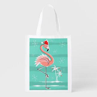 Christmas Flamingo Stripe reusable bag