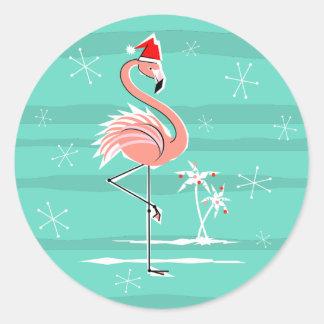 Christmas Flamingo Stripe sticker round
