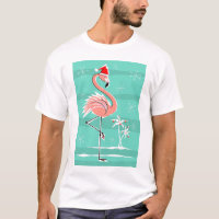 Christmas Flamingo Stripe t-shirt men's