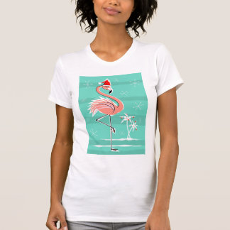 Christmas Flamingo Stripe t-shirt women's