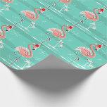 Christmas Flamingo Stripe wrapping paper