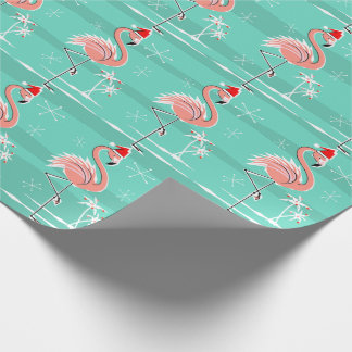 Christmas Flamingo Stripe wrapping paper
