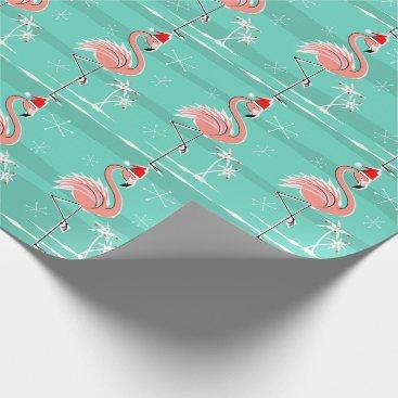 Christmas Themed Christmas Flamingo Stripe wrapping paper
