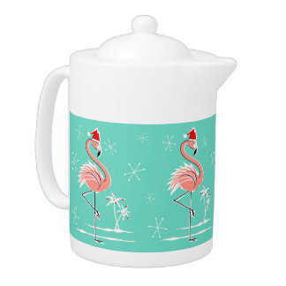Christmas Flamingo teapot