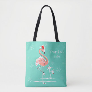 Christmas Flamingo Text all over tote