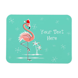 Christmas Flamingo Text magnet flexible