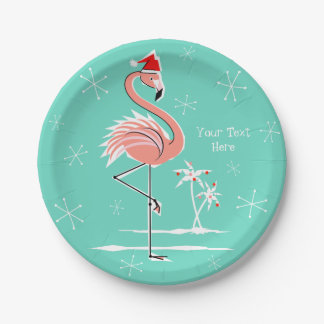 Christmas Flamingo Text paper plate