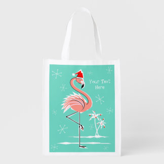 Christmas Flamingo Text reusable bag