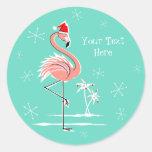Christmas Flamingo Text sticker round