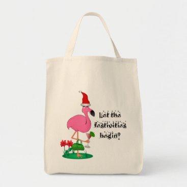 Christmas Themed Christmas Flamingo Tote Bag