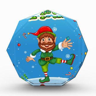 Christmas flashcard with Santa and ornaments Acrylic Award