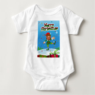 Christmas flashcard with Santa and ornaments Baby Bodysuit