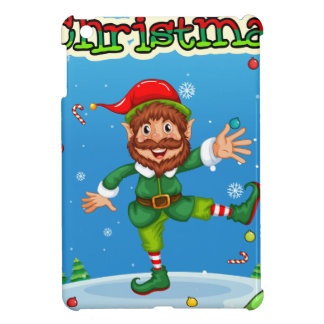 Christmas flashcard with Santa and ornaments Case For The iPad Mini