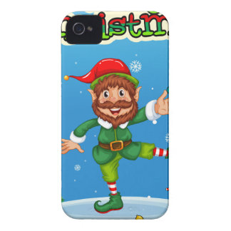 Christmas flashcard with Santa and ornaments Case-Mate iPhone 4 Case