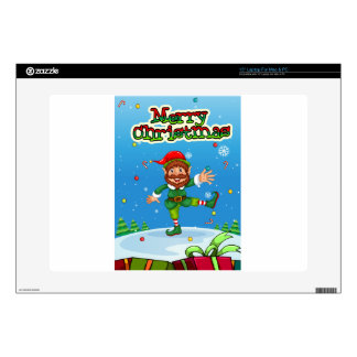 Christmas flashcard with Santa and ornaments Decal For Laptop