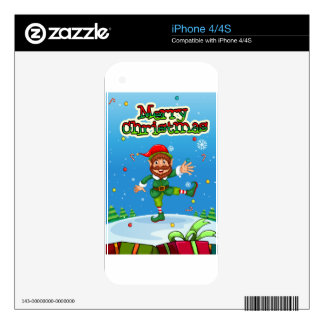 Christmas flashcard with Santa and ornaments Decal For The iPhone 4S