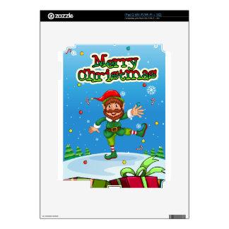 Christmas flashcard with Santa and ornaments iPad 2 Skins