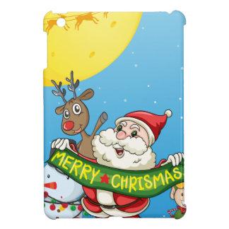 Christmas flashcard with Santa and ornaments iPad Mini Case