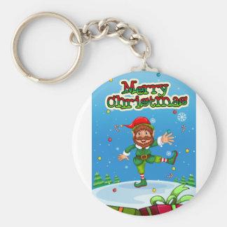Christmas flashcard with Santa and ornaments Keychain