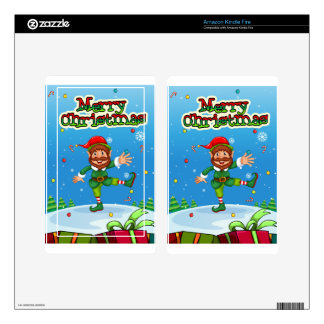 Christmas flashcard with Santa and ornaments Kindle Fire Decals