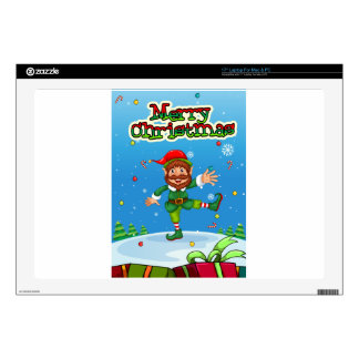 Christmas flashcard with Santa and ornaments Laptop Skin