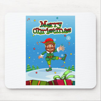 Christmas flashcard with Santa and ornaments Mouse Pad