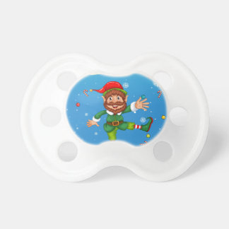 Christmas flashcard with Santa and ornaments Pacifier