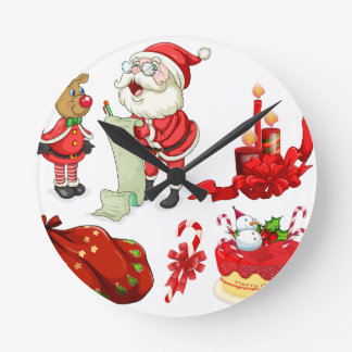Christmas flashcard with Santa and ornaments Round Clock