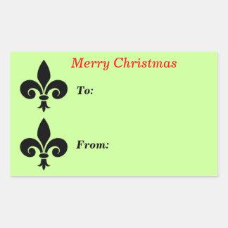 Christmas fleur de lis Green To From Large Rectangular Sticker