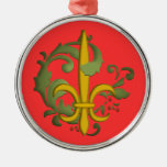 Christmas Fleur de lis Round Metal Christmas Ornament