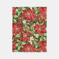 Christmas Floral Holiday fleece blanket
