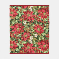 Christmas Floral pattern fleece blanket