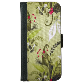 Christmas floral pattern iPhone 6 wallet case